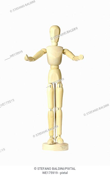 Wooden stickman with open arms