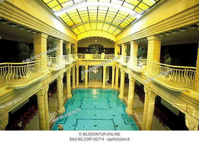 The Gellert bath at the hotel of Gellert in Budapest of the capital of Hungary