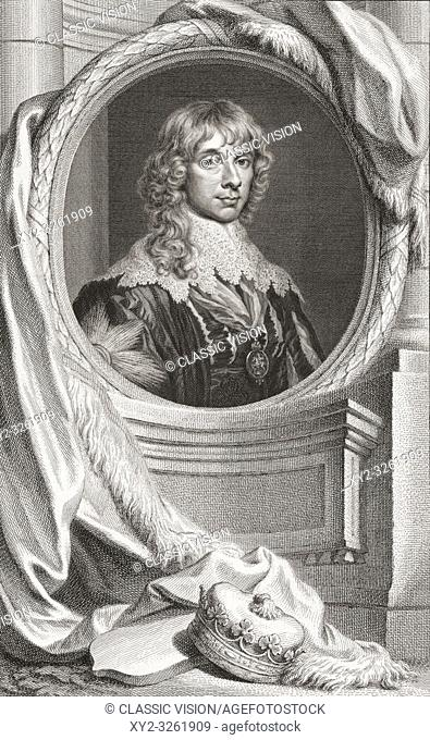 """James Stewart, 1st Duke of Richmond, 4th Duke of Lennox, 1612 â. """" 1655. British nobleman. From the book The Heads of Illustrious Persons of Great Britain"""