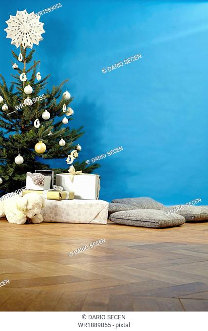 Christmas tree and gifts, Munich, Bavaria, Germany