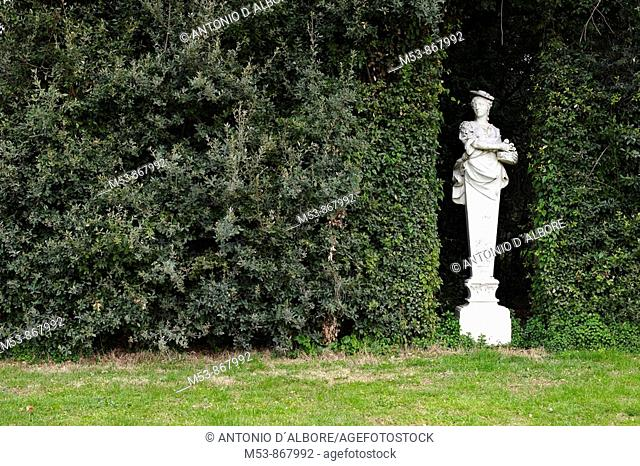 marble statue of a greek god in the garden of the royal palace of caserta, an UNESCO World Heritage Site  province of caserta  campania  italy  europe