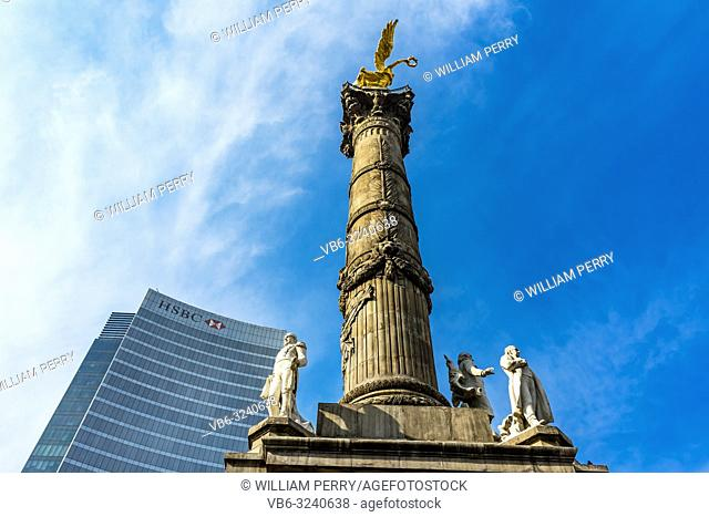 Peace Hidalgo Statues Independence Angel Monument Mexico City Mexico. Built in 1910 celebrating war in early 1800s leading to Independence 1821