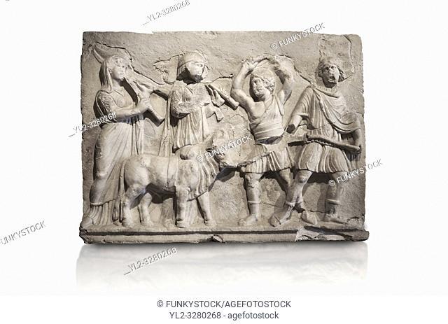 Roman relief sculpture of the Coronation of Hierapolis. Roman 2nd century AD, Hierapolis Theatre. . Hierapolis Archaeology Museum, Turkey