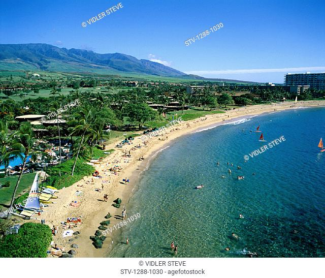 Aerial, America, Beach, Coastal, Hawaii, Holiday, Ka'anapali, Landmark, Maui, Mountains, Ocean, Resort, Sailboats, Tourism, Tour