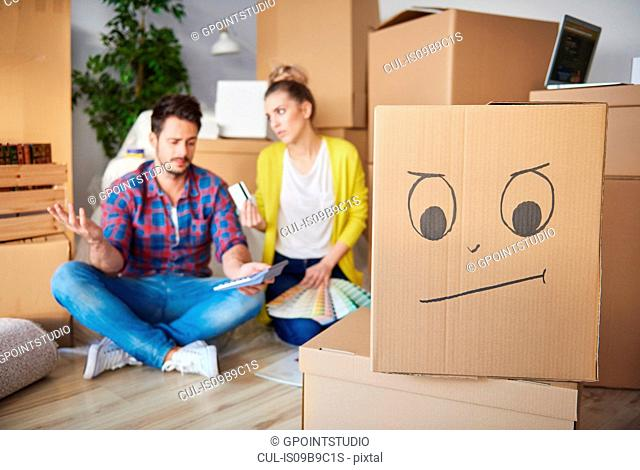 Young couple at home, surrounded by cardboard boxes, working out finances