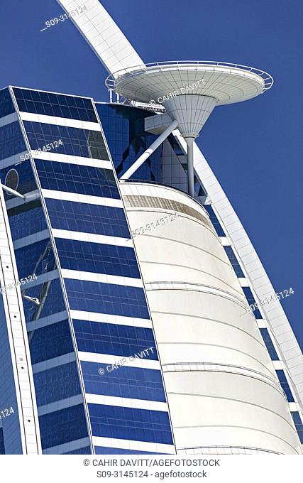 Architectural detail closeup of the helicopter pad of the luxury 7 Star Burj Al Arab Hotel designed by the architects Atkins, Um Suqaim Second, Dubai, Dubayy