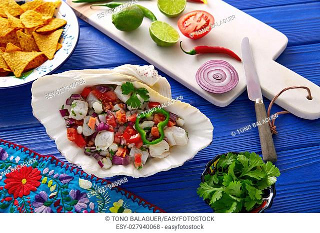Ceviche Mexican food style recipe with nachos and ingredients