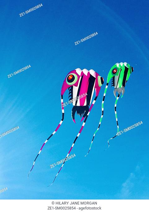 Two colourful kites against blue sky