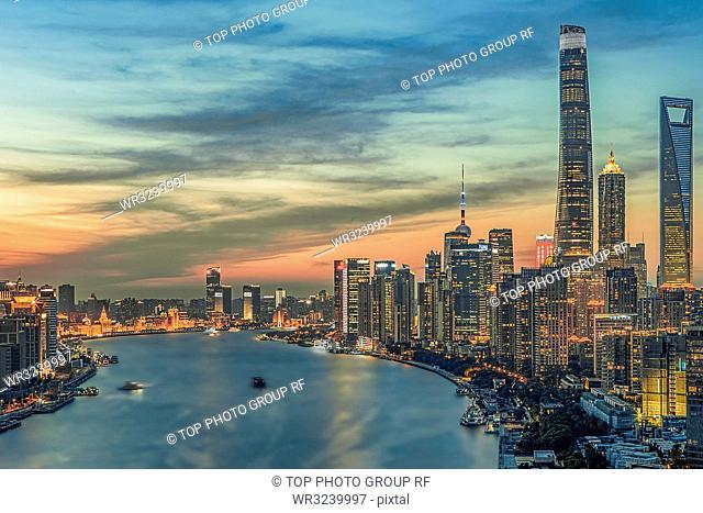 Cityscape of the Bund; Shanghai; China
