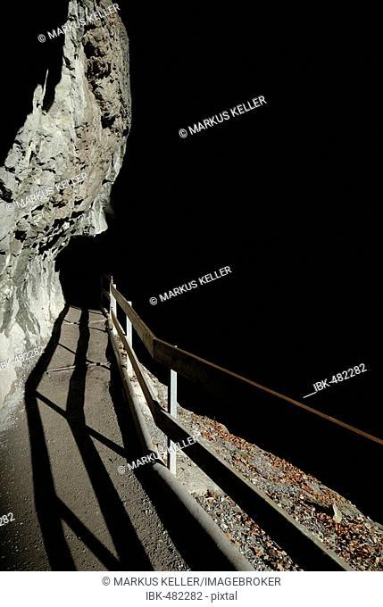 Hiking trail in the dusky Rappenloch canyon - Dornbirn, Vorarlberg, Austria, Europe
