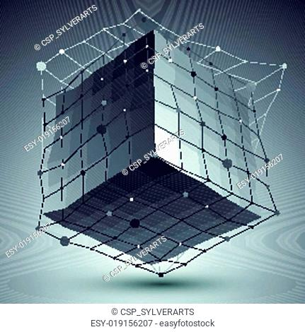 Abstract vector mesh cube