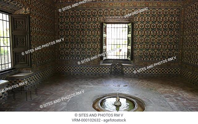 Interior, PAN, tiled room with fountain in the Bower of Carlos V, in the Garden of El Cenador or El Leon. The bower was renovated in the times of the Emperor...