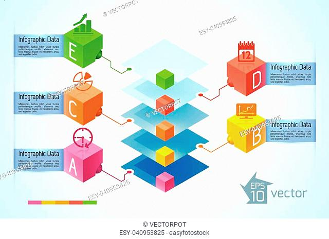 Infographic business concept with colorful diamond pyramid five ribbon text banners icons on 3d squares vector illustration