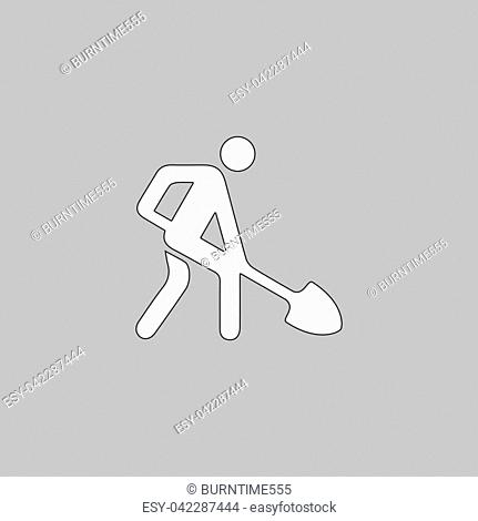 Digging man Simple line vector button. Thin line illustration icon. White outline symbol on grey background