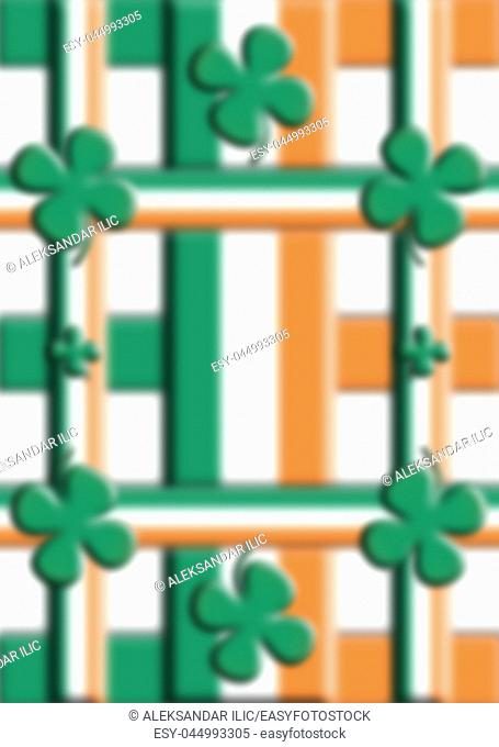 St Patrick's Day Background In Flag Colors 3D illustration
