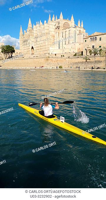 Kayak competition in front of the cathedral of Palma de Majorca, the Balearic capital city, Spain, Europe