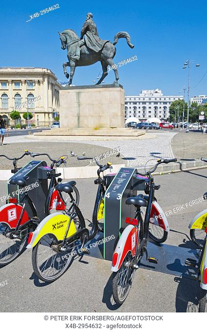 City bike rental scheme point, Piata Revolutiei, Calea Victoriei, Bucharest, Romania