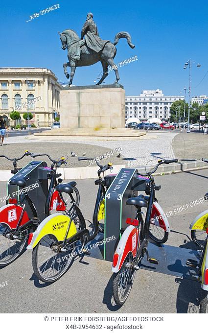 City bike rental scheme point, Piata Revolutiei, Calea Victoriei, Bucharest, Romania