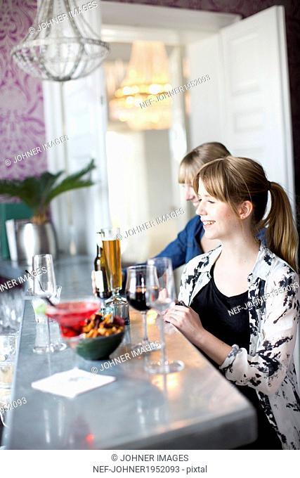 Young women having drink