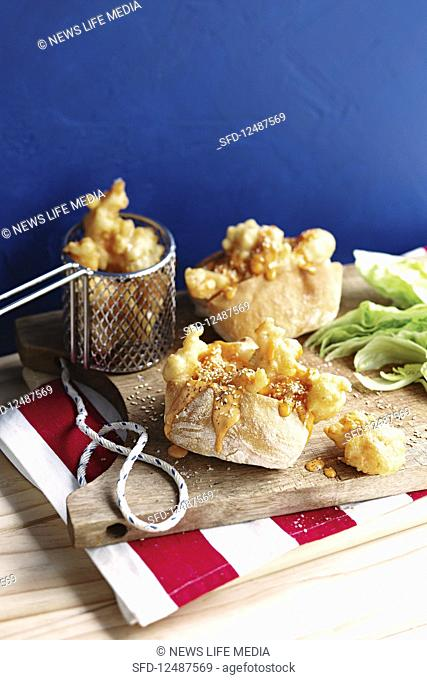 Popcorn prawn rolls with asian sriracha mayo