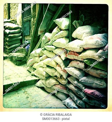 Sacks piled on the street in Fez, Morocco, Africa
