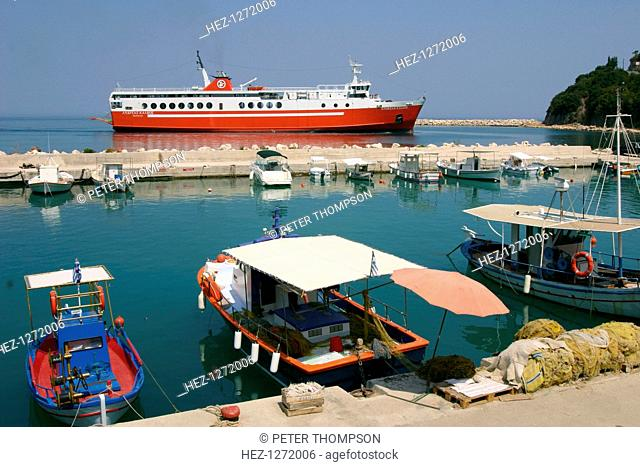 Ferry entering the harbour of Poros, Kefalonia, Greece