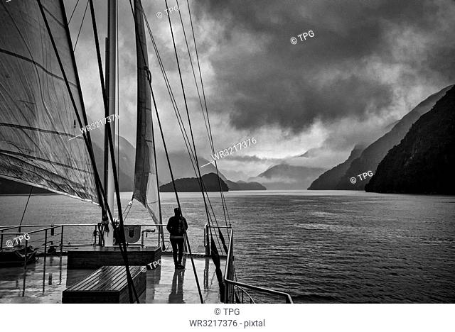 Person travel by the ship;New Zealand
