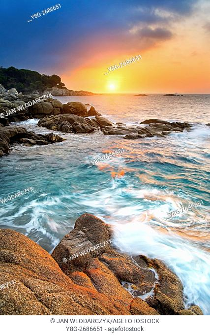 Sunrise at Costa bava coastline, Spain
