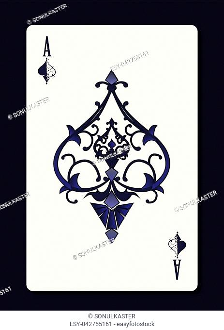 Ace of spades with forging curl pattern ornament inside it. Casino or gambling symbol. Vector illustration
