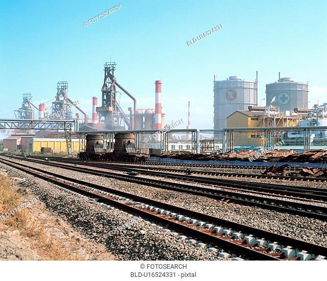 rail, scenery, factory, plant, railroad, film