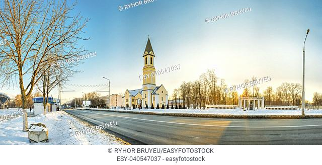 Gomel, Belarus. Church Of The Nativity Of The Virgin Mary On Sovetskaya Street At A Winter Sunny Evening Sunset