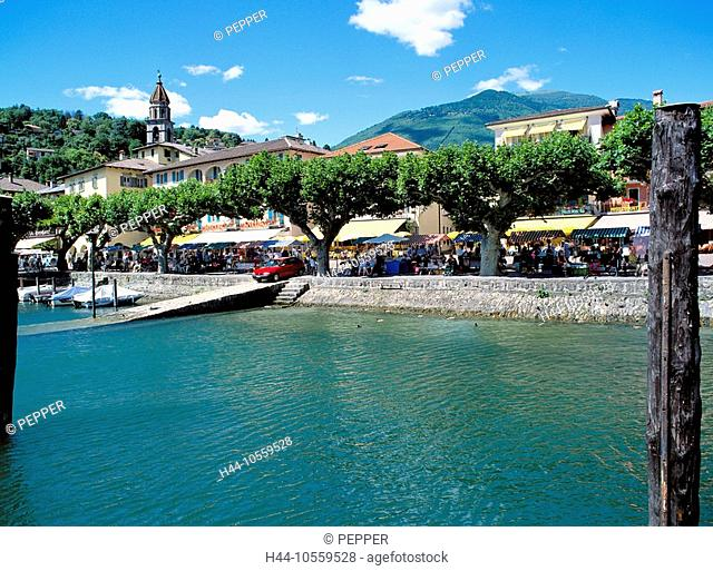 10559528, Switzerland, Europe, Ticino, Ascona, lake promenade, chestnut trees, house line, market, Lago Maggiore, lake, sea, mou