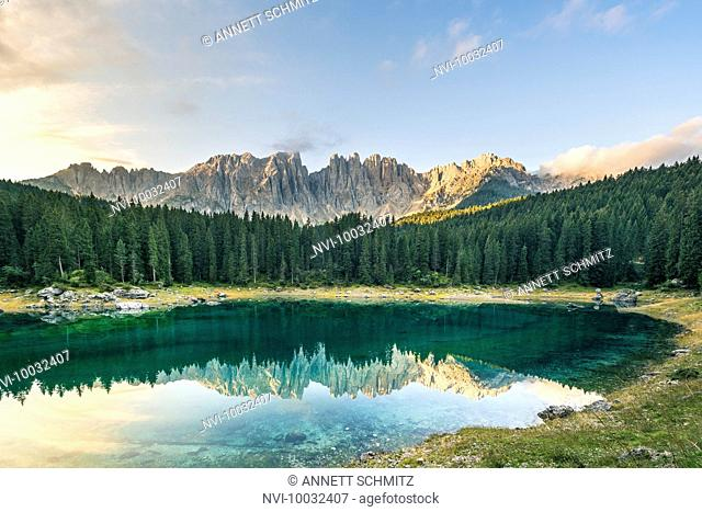 Latemar mountain and Karersee, Dolomites, South Tyrol, Italy