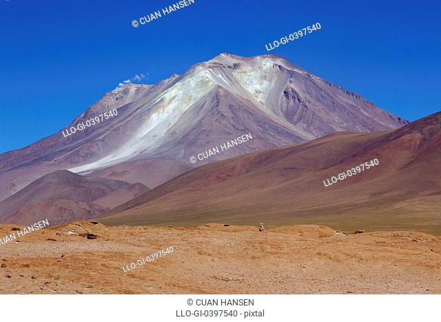 View of the active Ollague Volcano, Los Lipez, Southwestern Bolivia, South America
