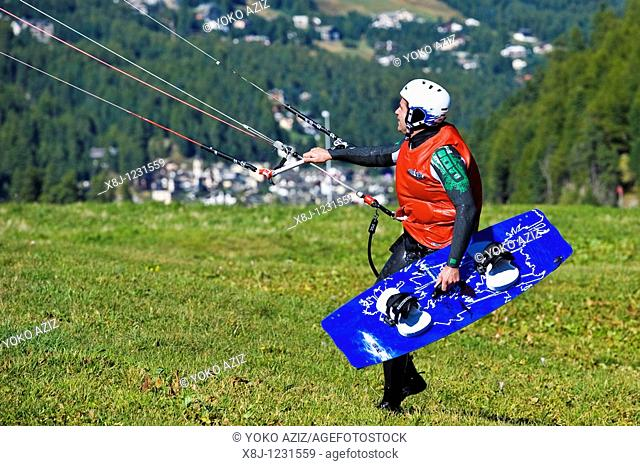 Paragliding on the lake, St  Moritz, Switzerland