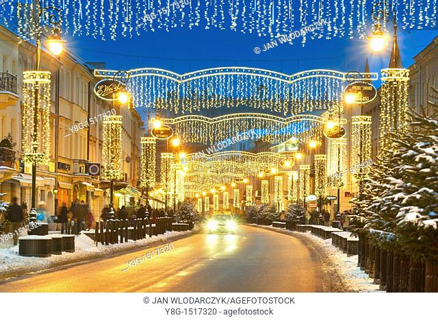 Warsaw, street decorations in Christmas time, Poland, Europe