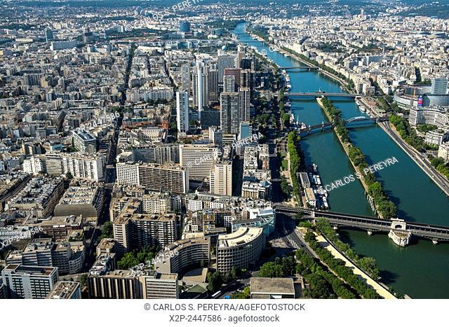 View of the Seine river in Paris from the Eiffel Tower. Ill de France, France
