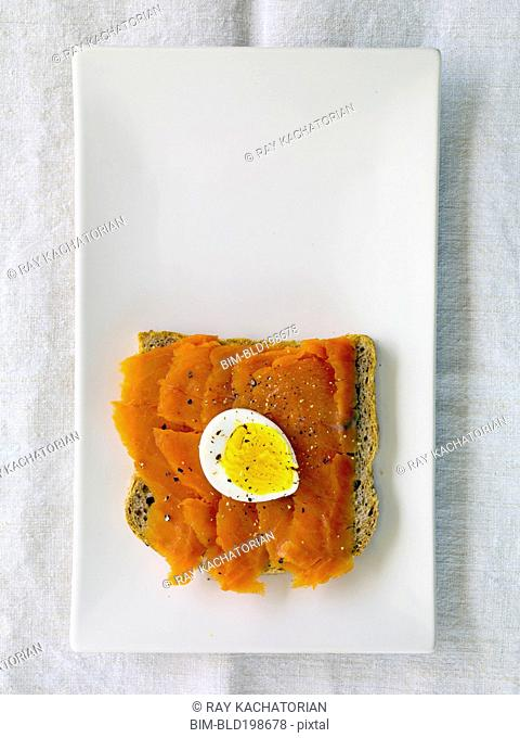 Lox and hard boiled egg on bread