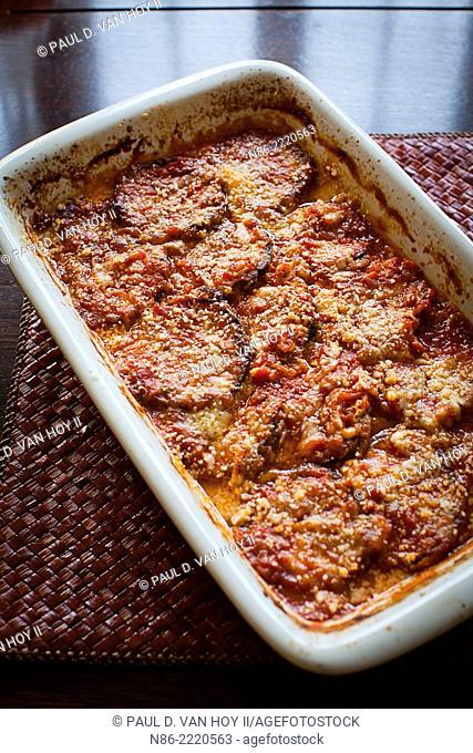 eggplant parmesan in a casserole dish