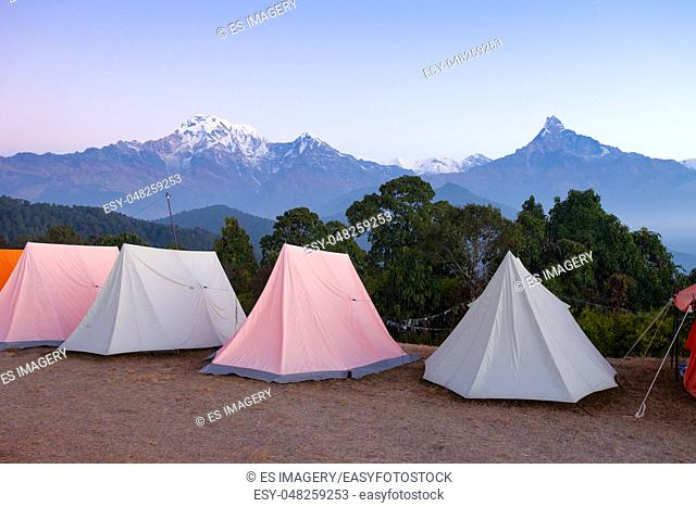 Tents set up for group camping in the Annapurna Region, Nepal
