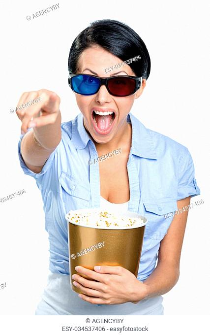 Girl in 3D glasses watching film with the bowl full of popcorn, isolated on white