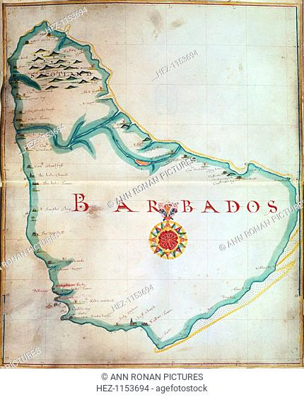 Map of Barbados, 1683. Barbados was first settled by the British in 1627. From the British Museum