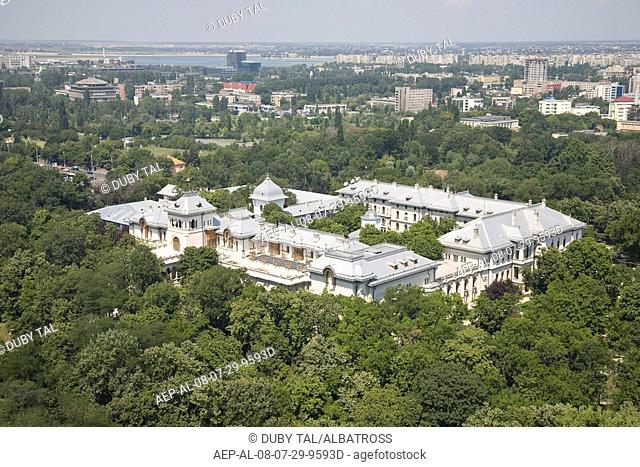 Aerial photograph of a Romanian Palace in the city of Bucharest Romania