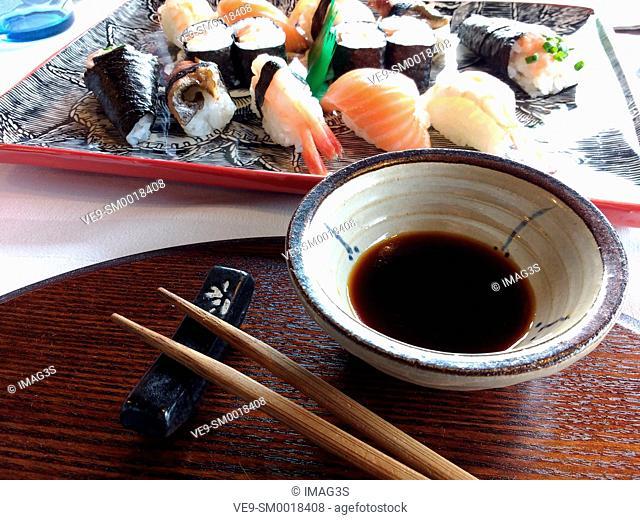 Nigiri-sushi and maki-sushi and soy sauce, Amada Carlota Japanese Restaurant, La Cotariella, Cabranes, Asturias, Spain
