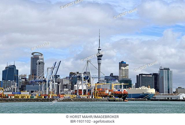 Skyline with a container-port, Auckland City, North Island, New Zealand