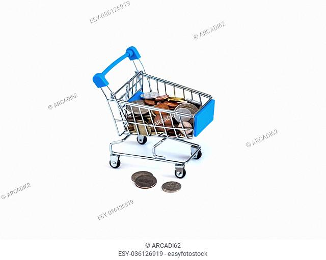 Shopping cart full of coins on a white background, money, currency, business
