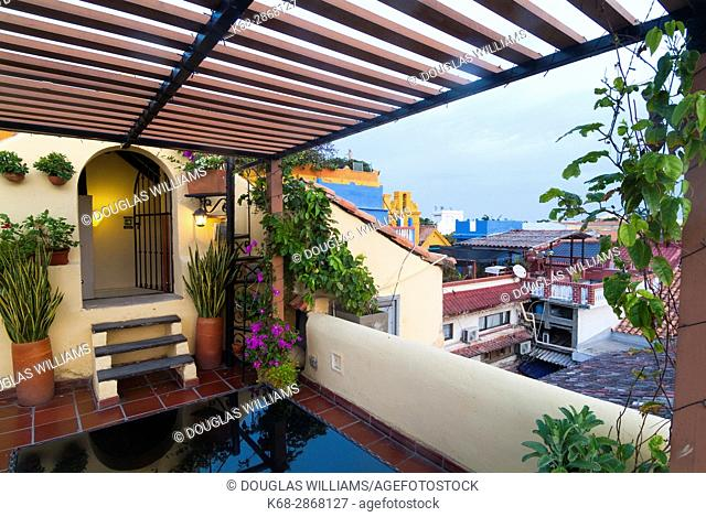 Roof top terrace at a hotel in the old city of Cartagena, Colombia, South America