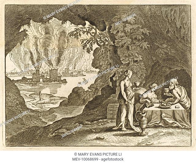 God smites Sodom but spares Lot and his family : his wife looks back and becomes a pillar of salt, his daughters ply him with wine and entice him to couple with...