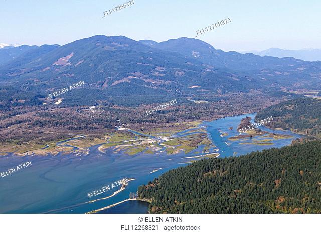 Aerial view of sandbars and gravel beds in the Fraser River near Mission; Chilliwack, British Columbia, Canada