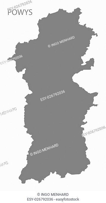 Powys Wales Map grey